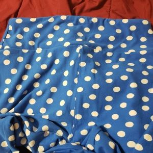 Lularoe Blue & White Poke a Dot leggings os